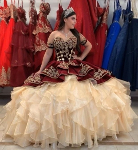 Mexican Style Burgundy or Navy Velvet Quinceanera Dress with Golden Emboridery