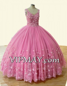 Pretty Pink V-neck Tulle Lace Quinceanera Dress with 3D Flowers