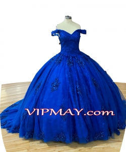 Modern Royal Blue 3D Flowers Lace Over Quinceanera Dress with Train