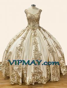 Princess Gold Sequin V Shape Neckline Quinceanera Dress with Long Train