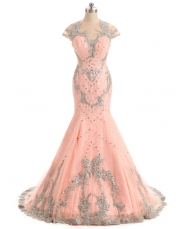 Elegant Blush Pink Mermaid Sheer Back Prom Dress with Rhinestones