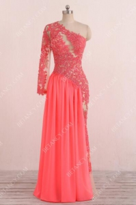 New Coral Pink Sheer One Shoulder Long Sleeve Mermaid Prom Dress