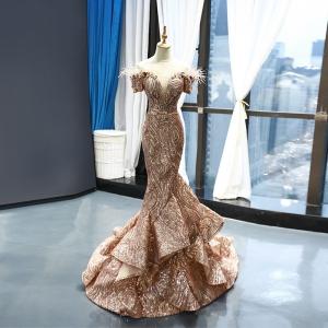 Sparkly Fully Rose Gold Sequins Mermaid Off Shoulder Deep-V Prom Dress