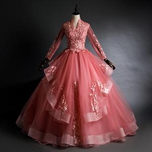 Cheap High-neck Long Sleeve See Through Bodice Quinceanera Dress