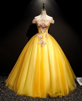 Affordable Simple Yellow Off the Shoulder Quinceanera Dress No Ruffles
