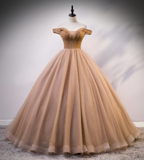 Low Price Rose Gold Beaded Bodice Off Shoulder Sweet 16 Dress