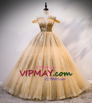 Cheap Sparkly Gold Sequin Off Shoulder Deep-V 16th Birthday Quinceanera Dress