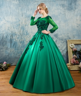 Teal Green Long Sleeves Satin Sweet 16 Dress with Beaded 3D Flowers