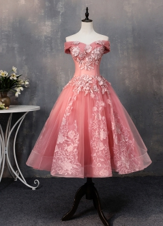 Beautiful Pink Lace Off Shoulder Short Prom Dress Knee Length