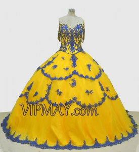 Yellow Off Shoulder Vestidos de Quinceanera Dress with Royal Blue Lace