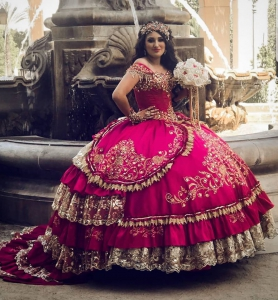 Elegant Fuchsia Charro Gold Embroidered Lace Quinceanera Dress with Train
