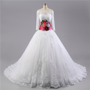 Beautiful White Long Sleeve Lace Wedding Dress with Colorful Foral Embrodery