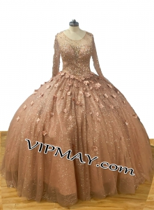 Rose Gold Metallic Lace and Glitter Tulle Long Sleeve Quinceanera Dress with 3D Flowers