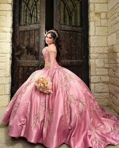Pink Satin Embroidery Quinceanera Dress Vestidos De 15 XV Años with Train