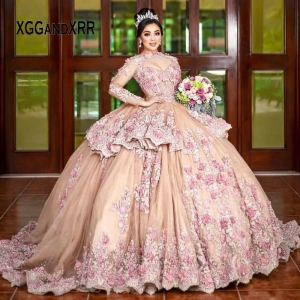 Keyhole Long Sleeves Mexican Quinceanera Dress Lace Applique Flower Beaded Sweet 15 16 Dress Birthday