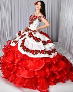 Newly Two Pieces Charro Sweet 16 Quinceanera Dress with Removeable Skirt Rose Appliqued