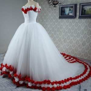 Traditional White and Red Tulle Quinceanera Wedding Dress with 3D Flowers