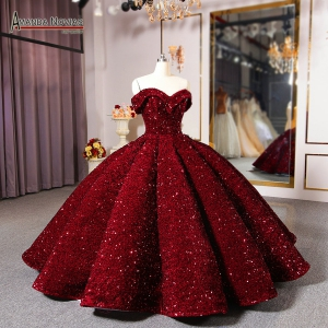 Burgandy Fully Sequins Fabric 3D Skirt Quinceanera Dress Off the Shoulder