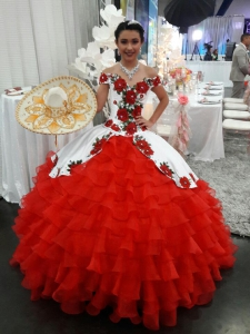 V Neck Off the Shoulder Ruffles Quinceanera Dress with Rose Embroidery