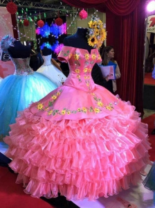 Pink Charro Short Sleeve Sunflowers Embroidery Quinceanera Dress for Sale