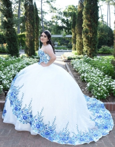 Beautiful White Mexican Style Blue Floral Embroidery Quinceanera Dress