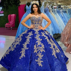 Royal Blue Sequined Quinceanera Dress Sweetheart Ruffles Appliques Princess