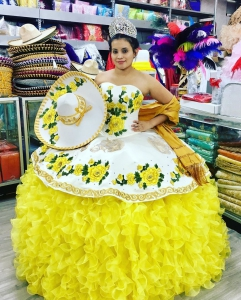 White and Yellow Charro Floral Ruffles Quinceanera Dress for Girls
