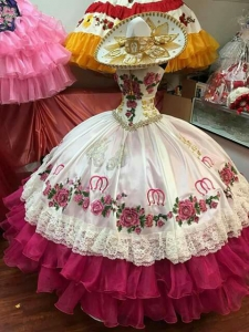 Charro Style White and Fuchsia Quinceanera Dress with Horse Horseshoe
