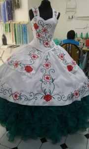Custom Tailor White and Teal Quinceanera Dress with Detachable Straps