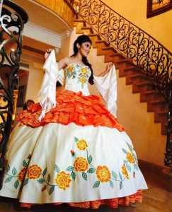 Beautiful White and Orange Taffeta Quinceanera Dress with Floral Embroidery