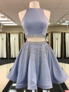 Open Back Lilac Beaded Two Pieces Short Homecoming Dress