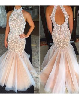 Exceptional Beading Prom Homecoming Dress Pink And White Backless Sleeveless Floor Length
