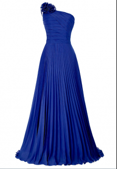 Unique Plus Size Royal Blue One Shoulder Pleated Homecoming Dress with Flower