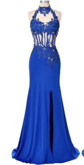 Royal Blue Sleeveless Floor Length Beading and Lace Lace Up Prom Gown Sweetheart