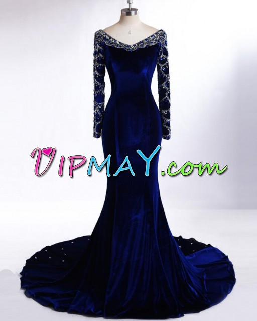 Royal Blue Long Sleeves Velvet Beading Neck Mermaid Homecoming Dress with Train