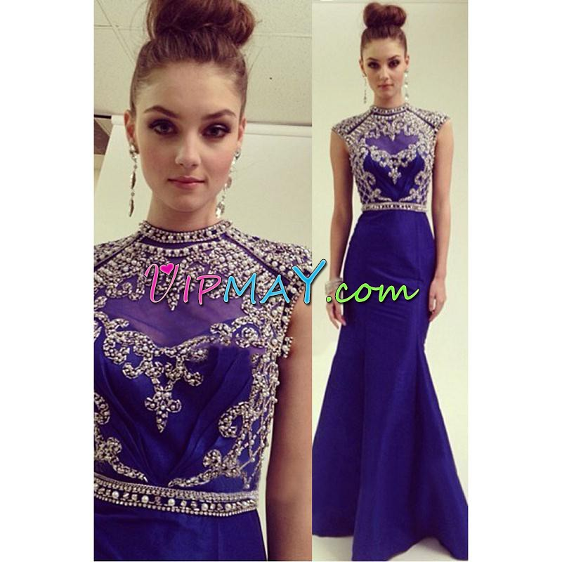 Custom Design Satin Cap Sleeves Floor Length Illusion Evening Dress