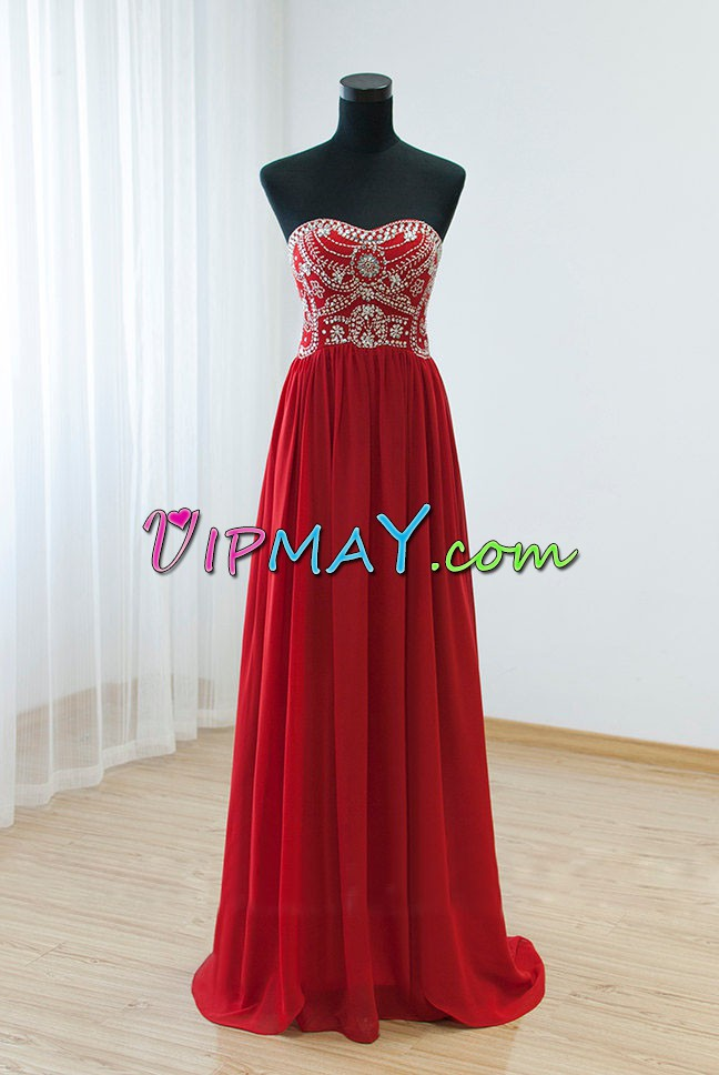 Gorgeous Floor Length White and Red Homecoming Dresses Satin and Chiffon Sweep Train Sleeveless Beading and Lace
