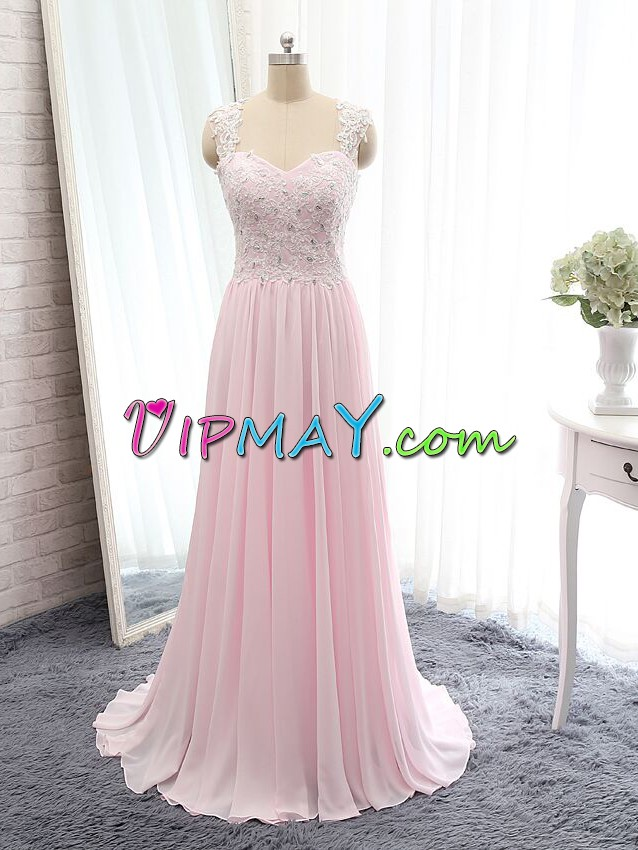 Appliques Prom Evening Gown Pink Side Zipper Sleeveless Floor Length
