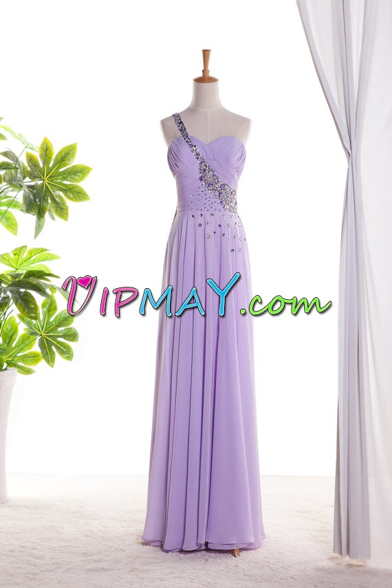 Eggplant Purple Sleeveless Floor Length Beading and Lace Backless Homecoming Dress One Shoulder