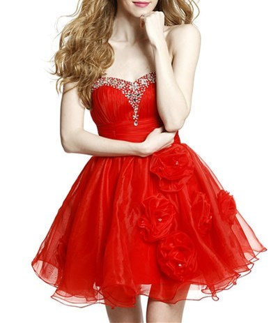 Fine Red Lace Up Sweetheart Beading and Hand Made Flower Prom Evening Gown Organza Sleeveless