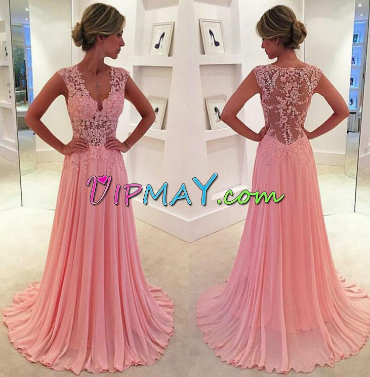 Most Popular Pink V-neck Neckline Lace and Appliques and Pleated Prom Party Dress Cap Sleeves Zipper
