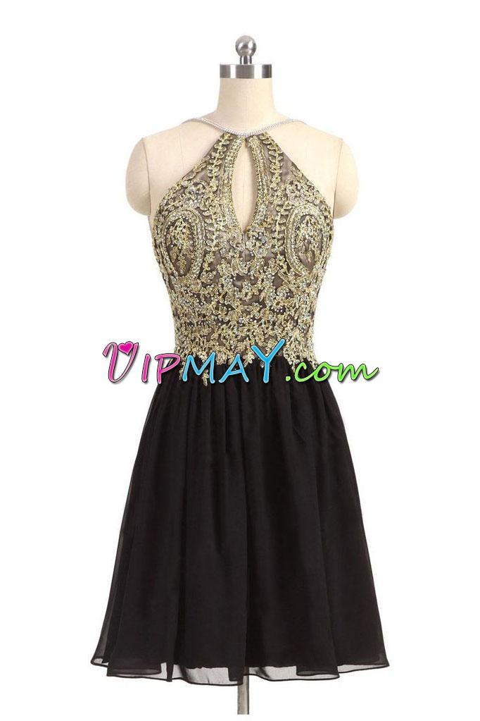 Black Halter Top Keyhole Front Golden Lace Short Homecoming Dress