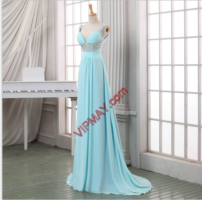 Baby Blue Homecoming Dress Prom and Party with Beading Straps Sleeveless Sweep Train Lace Up