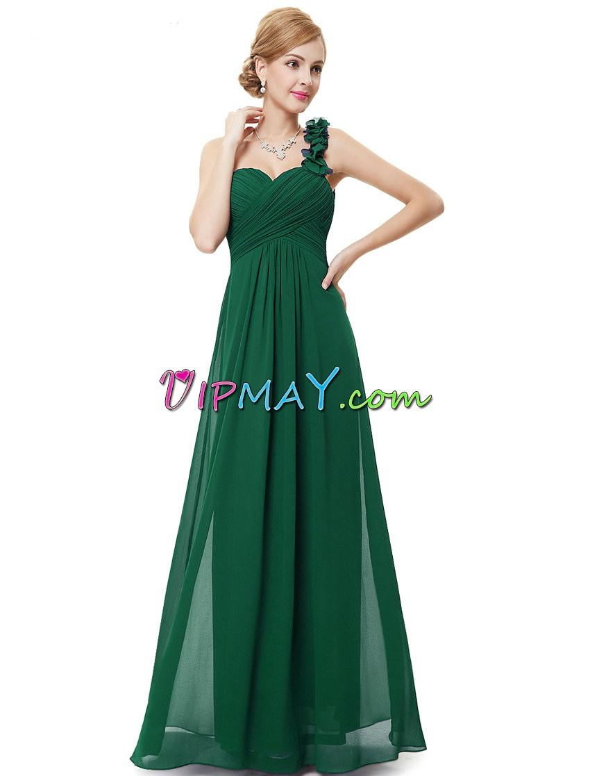 Chiffon One Shoulder Sleeveless Zipper Hand Made Flower Prom Gown in Green