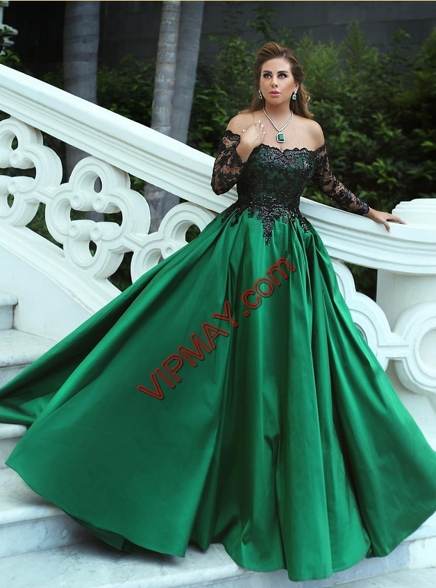 Dark Green Satin Lace Up Prom Gown Long Sleeves Floor Length Lace