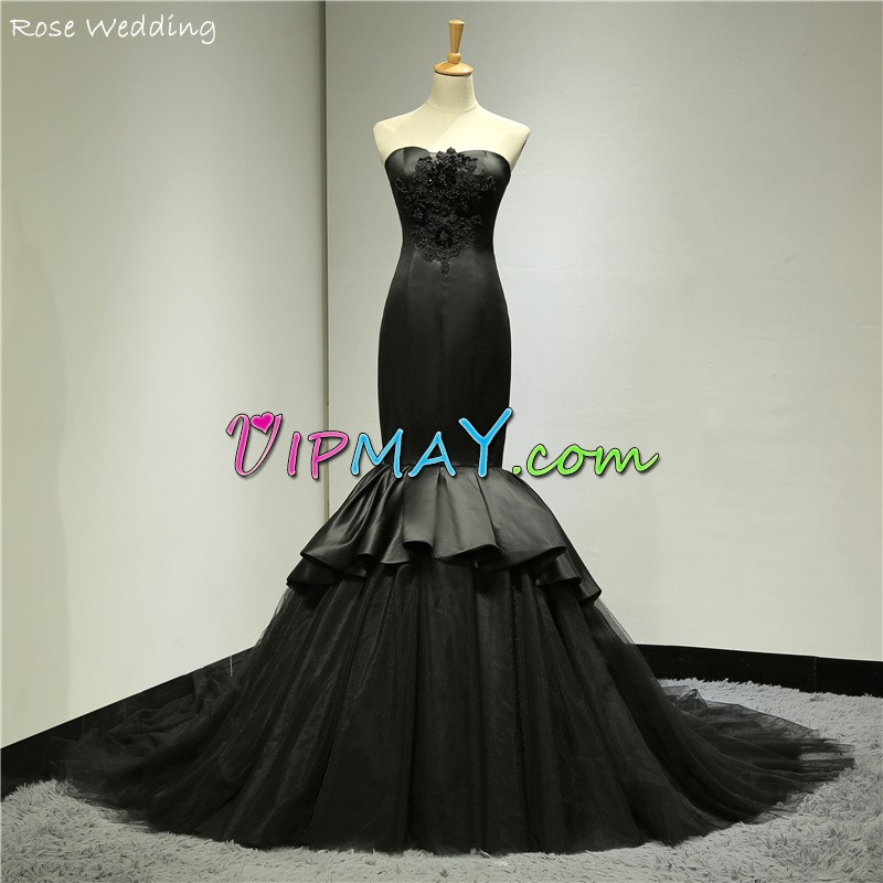 Black Mermaid Bodycon Homecoming Gowns Satin and Tulle with Long Brush Train