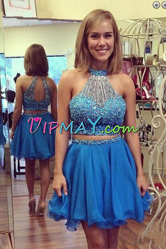 Sleeveless Chiffon Mini Length Backless Evening Dress in Blue with Beading