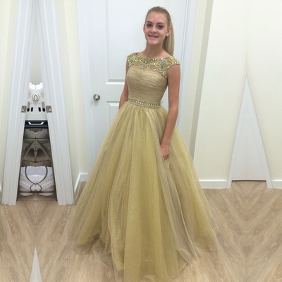 Yellow Green A-line Scoop Sleeveless Tulle Floor Length Lace Up Beading Prom Dresses