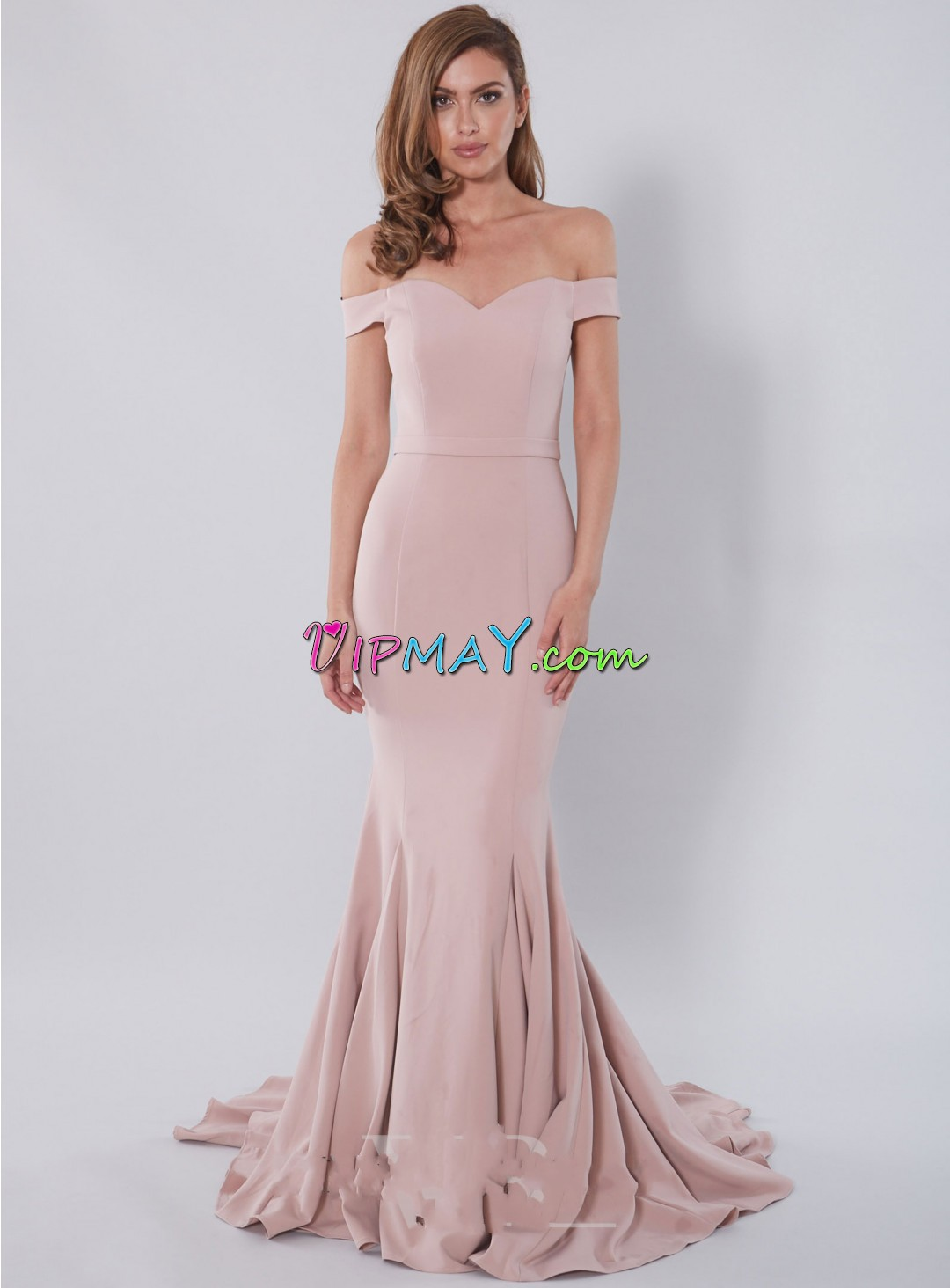 Dusty Pink Off Shoulder Fitted Mermaid Satin Evening Gown with Traiin