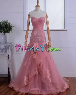 Smart Pink Tulle Lace Mermaid Prom Dress with Ruffles